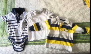 3 camisetas manga larga niño 6-9 meses
