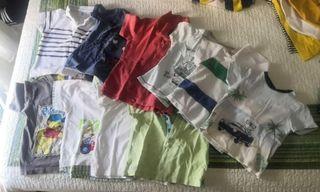 lote 10 camisetas manga corta 9-12 meses