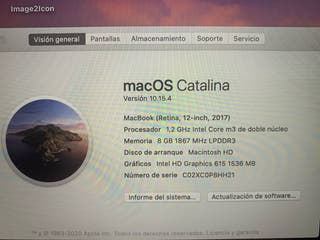 Se vende Macbook 12. Core m3. 1,2 Ghz. 8gb ram.