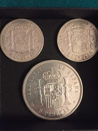 Lote 3 monedas Plata Alfonso XII