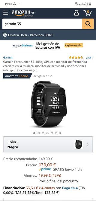 Reloj deportivo - Garmin Forerunner 35, Negro, GPS