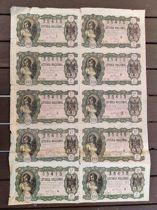 Serie lotería año 1949