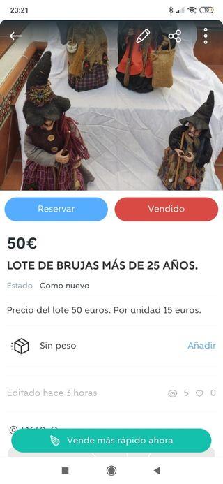 LOTE COMPLETO DE 77 BRUJAS, CON MÁS DE 25 AÑOS.