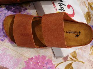 sandalias de piel serraje nuevo, hechas en España