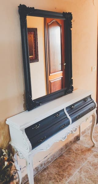 Mueble de entrada recibidor con espejo