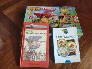 Dos libros infantiles y 4 puzzles