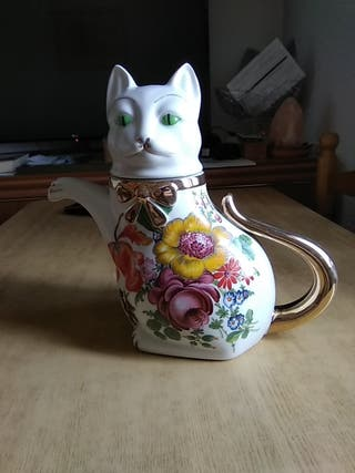 pareja de cafeteras gatos porcelana