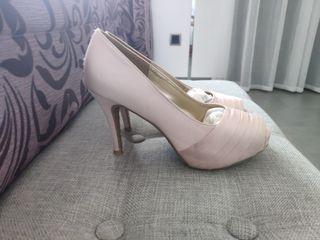 Zapatos fiesta tacón rosas. Talla 38