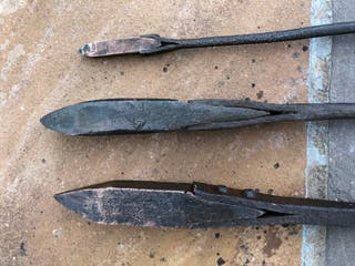 Set of three old blacksmiths soldering irons