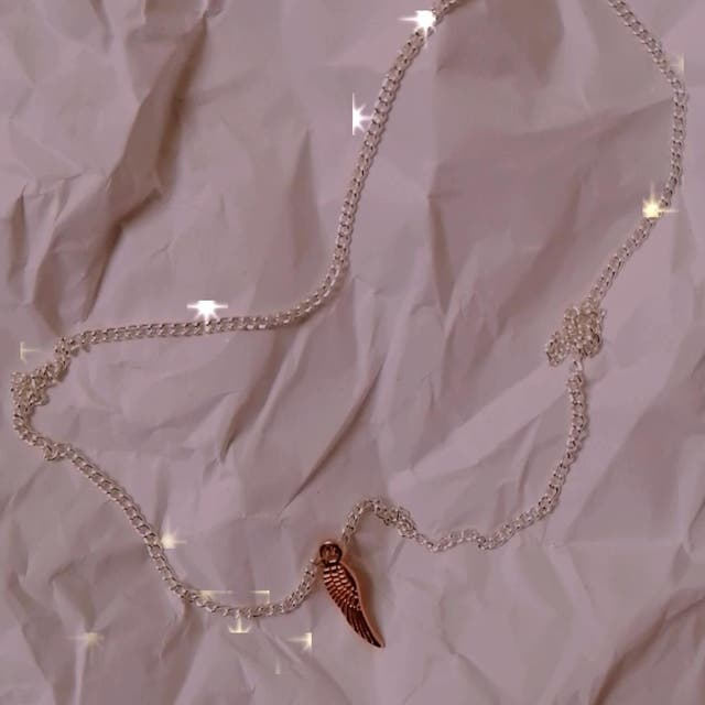 Pink golded angel's wing necklace