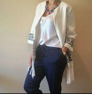 Kimono Zara blanco talla S ideal