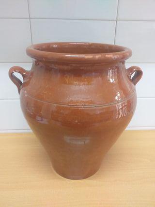antigua tinaja barro esmaltada, cerámica popular