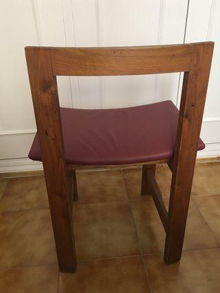Silla madera maciza polipiel