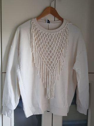 Sudadera blanca Zara