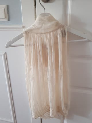 blusa seda semi transparente