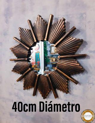 Espejo Sol Artdeco 40cm Diámetro Dorado Envejec