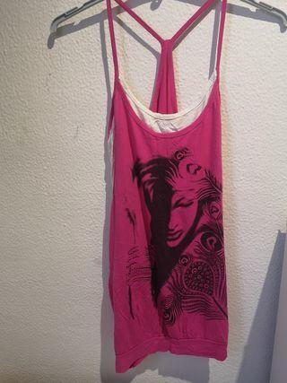 camiseta de tirantes rosa y blanca larga