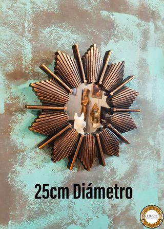 Espejo Sol Artdeco 25cm Diámetro Oro Envejecido