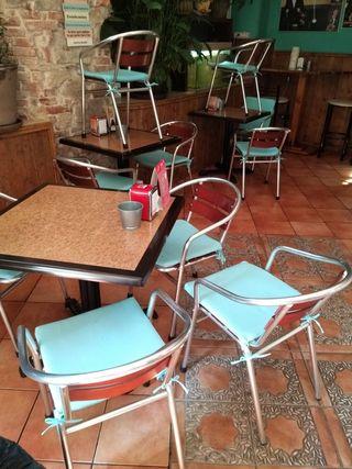 sillas de aluminio y madera