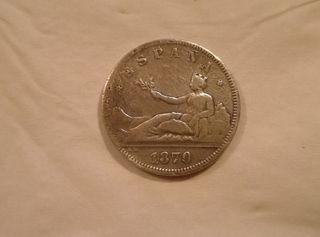 Moneda de plata de 2 pesetas 1870