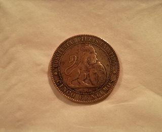 Moneda de cobre de 5 céntimos 1870.