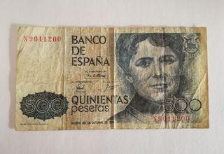 Billete de 500 pesetas de 1979.