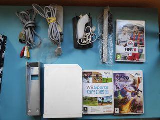 Wii con mando, 3 juegos y alfombra de baile