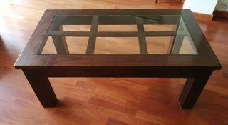 Mesa de centro madera/cristal
