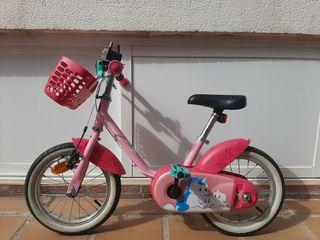 Bicicleta infantil de 14 pulgadas con ruedines
