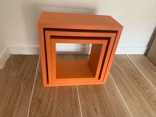 Set de tres cubos color naranja