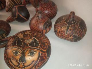 Calabazas pintada mano animales. sonido semillas