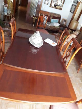 Conjunto vintage de mesa y 6 sillas años 40