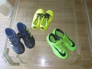 pack 3 pares zapatillas fútbol niño tallas 31 y 32