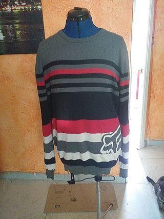 jersey rayas negras,rojo, gris y blanco