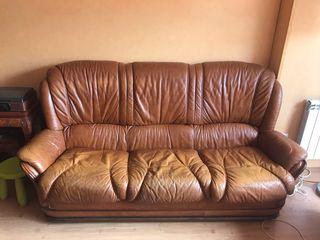 Sofá de piel marrón 3 plazas vintage