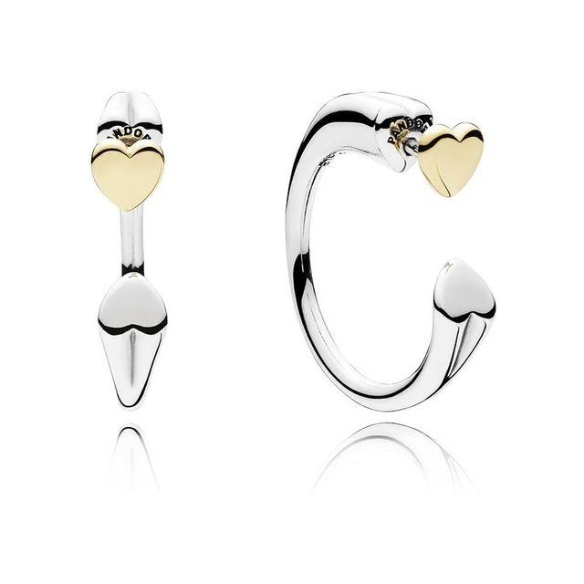 Pendientes Pandora plata y oro dos corazones