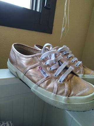 zapatillas superga rosa metalizado