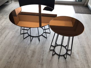 Set of 2 Rose Gold tint Mirror Coffee Tables