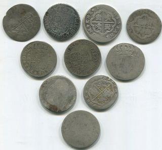 10 monedas de plata siglo XVII y XIX