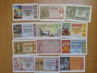 Postales de lotería de Navidad.