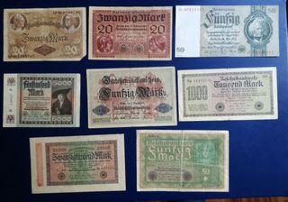 6 billetes alemanes Circulados.