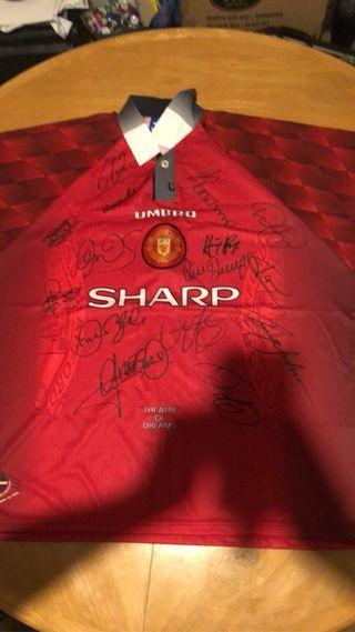 Man United treble winning season signed shirt
