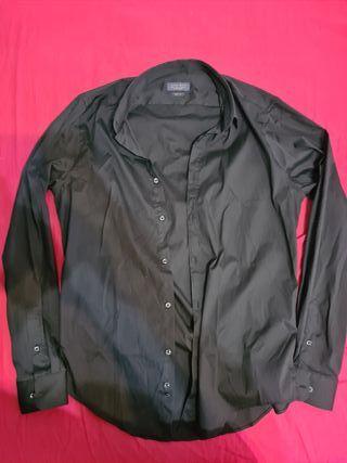 Camisa Zara negra elástica