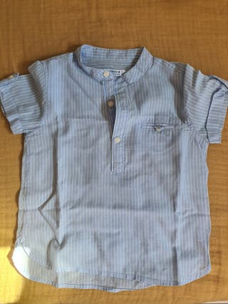 Camisa azul y blanca Mayoral 12 meses