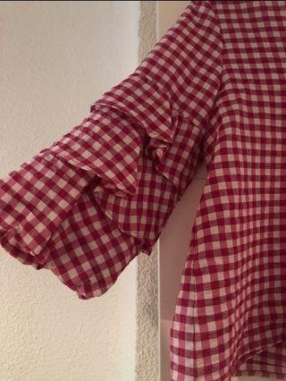 blusa zara cuadros vichy