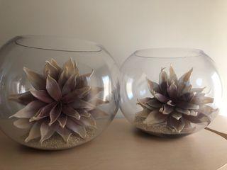 Peceras de Cristal con piedra blanca y flor gigant