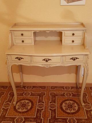 escritorio antiguo madera lacado en blanco