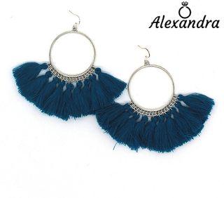 Pendientes Bohemios Aros Plateados con Flecos Azul