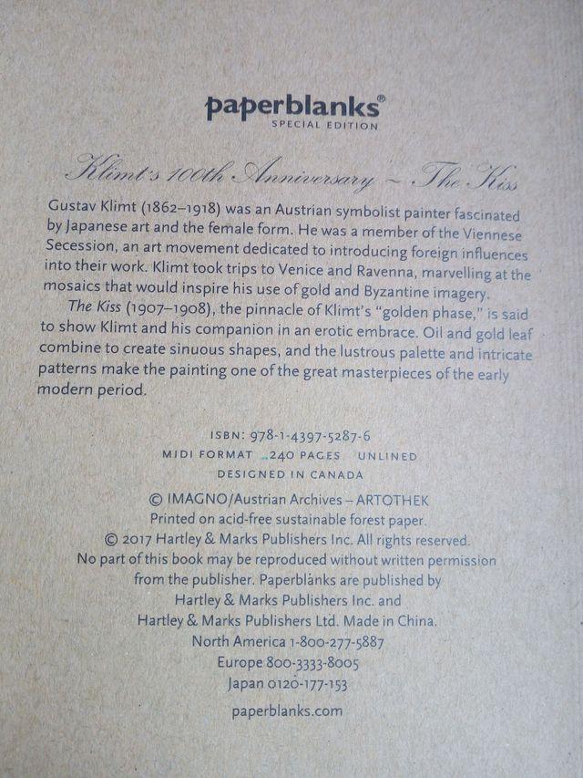 CUADERNO PAPERBLANKS - CENTENARIO KLIMT - EL BESO