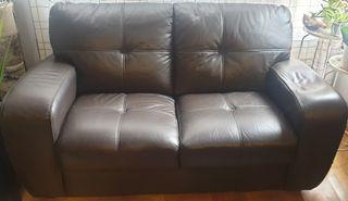 Sofa 2 plazas piel bufalo marron